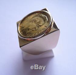Chevalière or carré avec pièce or 20 Francs Napoléon tête non lauré