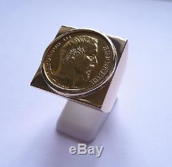 Chevalière or carré douille intérieure pièce de 20 Francs Napoléon non lauré