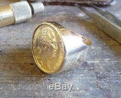 Chevalière or ronde avec pièce 20 Francs Louis XVIII avec douille interieure