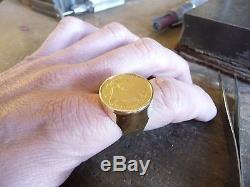 Chevalière or ronde avec pièce or 20 Francs Louis XVIII
