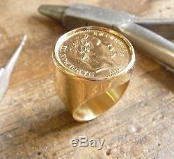 Chevalière or ronde avec pièce or 20 Francs Napoléon lauré et douille intérieure