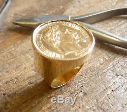 Chevalière or ronde avec pièce or 20 Francs Napoléon tête laurée