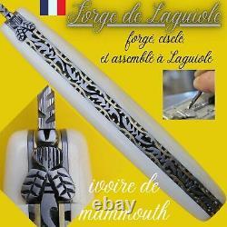 Couteau Forge De Laguiole France Defense Mammouth Damas Abeille Forgee