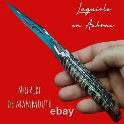 Couteau Laguiole en Aubrac molaire Mammouth mouche forgée prestige