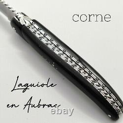 Couteau pliant Laguiole Aubrac Buffle lame et ressort ciselés spirale