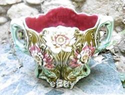 D'époque Art Nouveau Majolica Cache-Pot en Barbotine Manufacture ONNAING France