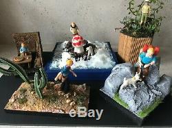 Diorama TINTIN LOT DE 5 dioramas figurines tintin no Pixi Aroutcheff Leblon
