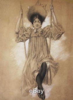 Ecole Francaise Dessin Jeune Fille Femme Balancoire Art Nouveau Francais France