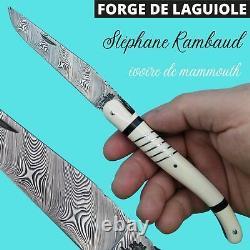 Exceptionnel Rare Unique Couteau Forge De Laguiole Mammouth France Damas