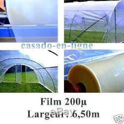 Film bache POLYANE professionnel 200µ 6,50m de large pour serre tunnel de jardin