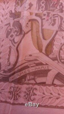 Foulard Hermès La danse du cheval Marwari Dip Dye Surteint rose neuf