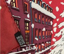 Foulard Hermès intitulé NOEL AU 24 FAUBOURG rouge foncé RARE ET RECHERCHE
