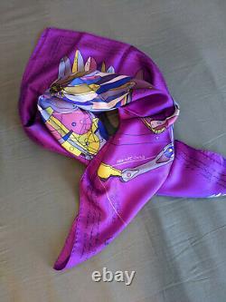 Foulard Neuf Soie New Silk Scarf Hermes 90cm Le Pégase d'Hermès Violet Purple