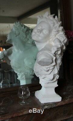 Grand Buste de la demoiselle de la danse de Carpeaux 61cm plâtre statuaire teint