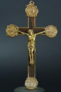 Grande Croix pectorale Bronze doré J. Pinto Quercia art nouveau Pectoral Cross