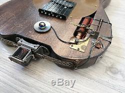 Guitare electrique Telecaster HomeKustom 1875 Design steampunk electro indus