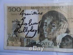 HALLYDAY autographe HALLYDAY dédicace sur Billet de Banque 500 francs signé main