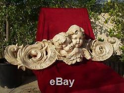 Impressionnante haut relief anges 1m plâtre teinté cherub angel angelo 3068