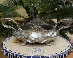 Jardiniere Centre De Table Art Nouveau En Metal Argente Epoque Vers 1900