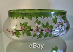 Jardinière / Vase Art Nouveau verre émaillé Baccarat Legras Choisy le Roi