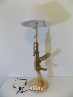LAMPE DESIGN AK47 KALASHNIKOV OR chevet bureau table lamp light arme kalach