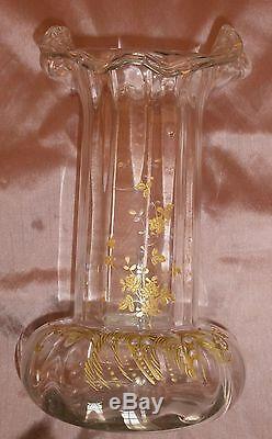 Legras Montjoye grand vase Art Nouveau vers 1900 en verre décor fleurs dorées