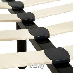 Lit en métal double 2 places cadre de lit + sommier à lattes 140x200 cm noir