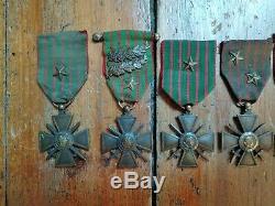 Lot 12 Croix de guerre 14-15/14-16/14-17/14-18, avec citations, étoiles, palme