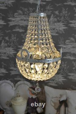 Lustre plaffonier pampilles CRISTAL Napoléon MONTGOLFIÈRE argente verre ancien
