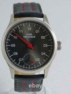 Montre MONO Sunray Black 41mm PURE MECANIQUE Type Unitas 6498 Single hand watch
