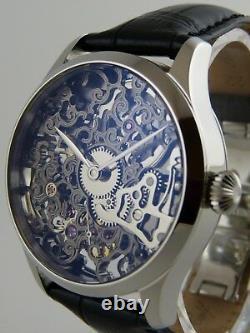 Montre squelette GUN METAL 41mm PURE MECANIQUE Type Unitas 6498 skeleton watch
