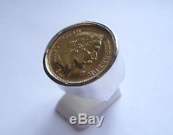 Monture chevalière argent ronde massive pour pièce 20 Francs Napoléon
