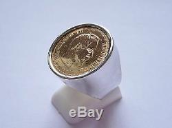 Monture chevalière argent ronde pour pièce or 10 Francs Napoléon