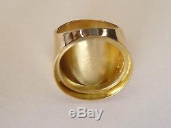 Monture chevalière or ronde avec douille intérieure pour pièce 20 Franc Napoléon