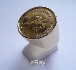 Monture chevalière or ronde pour pièce 20 Francs Napoléon