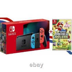 Nintendo Switch Neon Dernier Modèle + Jeu Physique New Super Mario Bros Deluxe