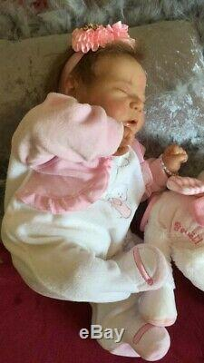 Noël Reborn baby boy or girl asleep Chase by Bonnie Brown with much hair