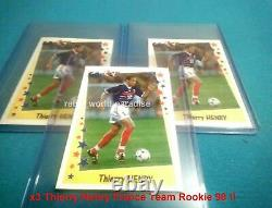 PANINI THIERRY HENRY ROOKIE X3 NEW MINT 10/10 1998 World cup France 98/99