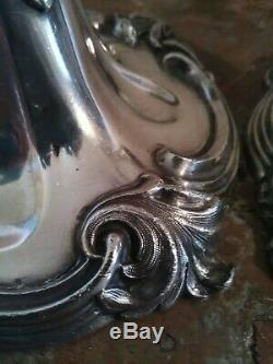 Paire de Bougeoirs en Bronze Argenté Art Nouveau