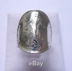 Parure bague pièce argent et pendentif griffé 1 Franc Semeuse en argent