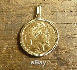 Pendentif porte-pièce lapidé en or avec 20 Francs Napoléon tête laurée
