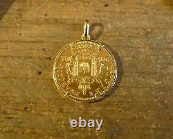 Pendentif porte-pièce lisse en or avec 20 Francs Napoléon tête laurée