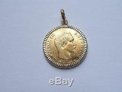 Pendentif porte pièce or lapidé avec 10 Francs Napoléon