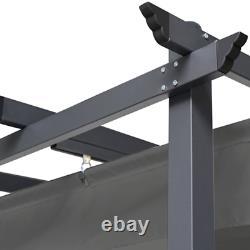 Pergola toit rétractable gris 3x4m tonnelle 4 pieds