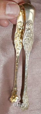 Pince à sucre 1900 art nouveau en argent massif modèle Liberty à fleurs d' IRIS