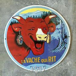 Plaque Emaillee La Vache Qui Rit En Vente ICI 40 CM B. Rabier Enamel Sign Email