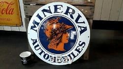 Plaque émaillée Minerva automobiles 50 cm bombée