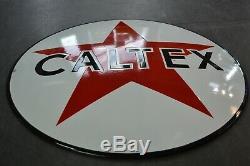 Plaque émaillée bombée Caltex 50 cm pochoir