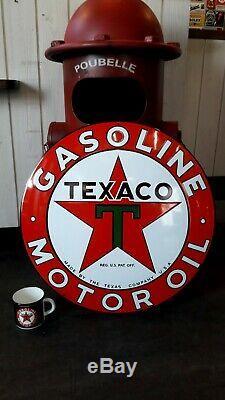 Plaque émaillée bombée Texaco gasoline 55cm