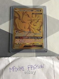 Pokemon Ultra-Necrozma-GX Gold Secret Rare SL7.5 78/70 Majesté des Dragons FRANC